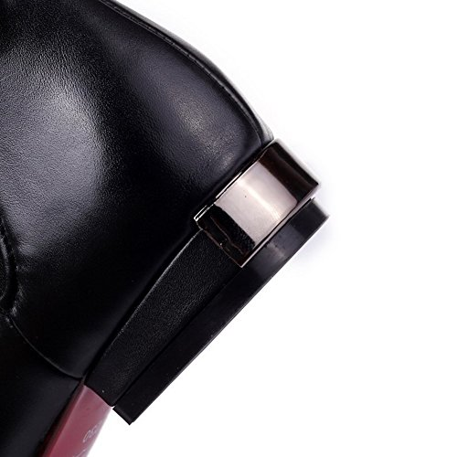 Damen Rivet Rein Zehe Absatz AgooLar Niedriger Set Spitz Schwarz Weiches mit Material Stiefel qCHdv