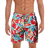 YESOT Fashion Men's Shorts Swim Trunks Quick Dry Pants Lacing Printed Pocket Beach Surfing Running Casual Pants Surf Pants (Red, M)