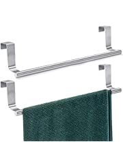 """Mosuch Stainless Steel Over Cabinets Door Towel Rack, 14"""" Bar Holders fit for 0.8"""" Width Cabinet Cupboard Doors to Hold Hand and Dish Towels 2 Pack"""