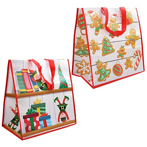 12-PCs-Christmas-Large-Tote-Bags-1375-X-14-Holiday-Reusable-Grocery-Bags-for-Classroom-Party-Favor-Supplies-Christmas-Shopping-Bags-Xmas-Party-Supplies-Bags