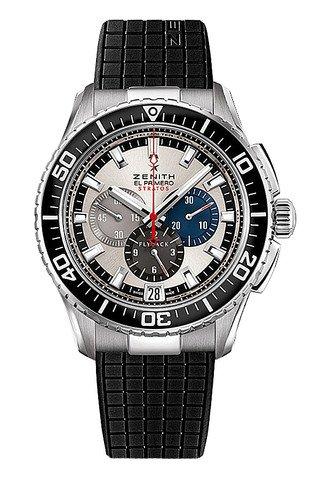 Zenith El Primero Stratos Chronograph Automatic Silver Dial Black Rubber Mens Watch 03206640569R515