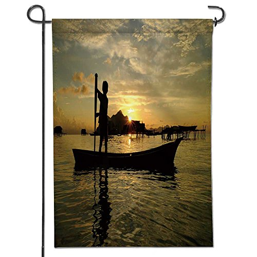 AmaPark Double Sided Premium Garden Flag,SEMPORNA,Sabah,Borneo April Unidentified Kids Paddle a dug Out Boat on April,in Semporna Weather Resistant & Double Stitched 12