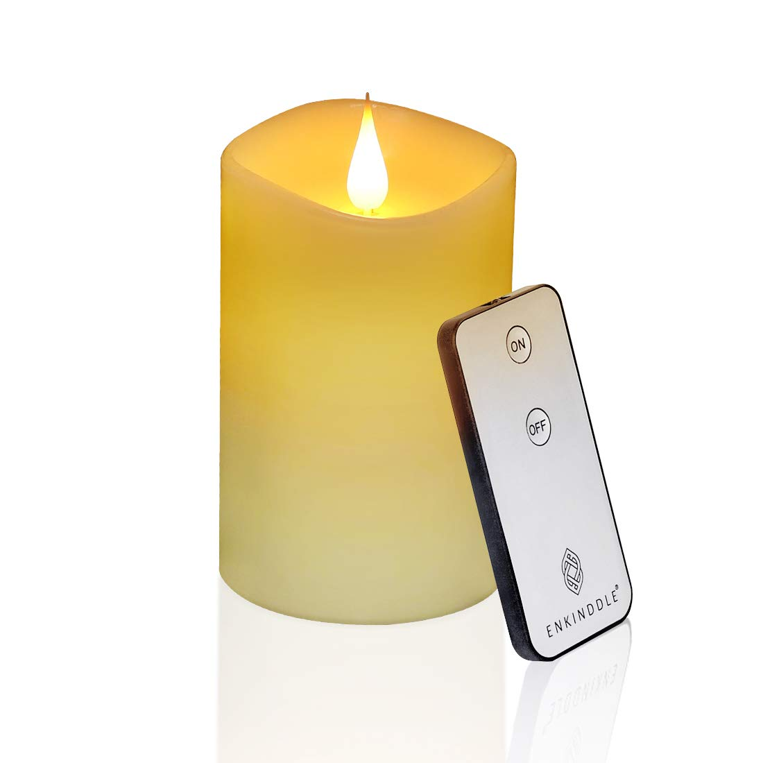 """ENKINDDLE Flameless Candles Swinging 3D Wick Battery Operated Candles 3""""x5"""" Scented LED Ivory Candles Made EU Certified Safe Non Toxic Paraffin Wax Remote Timer 1 Pack 800 Hours"""