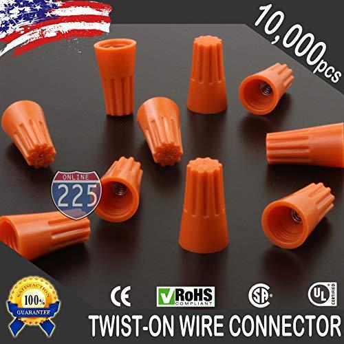 10000 PCS Orange 22-14 Gauge Twist On Wire Gard Connectors Conical Nuts Barrel Screw US by 225FWY (Image #1)