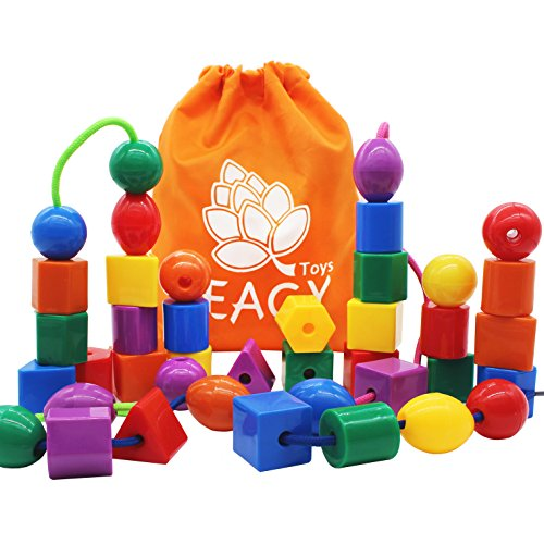 EAGY Lacing Beads for Kids Toddler Toy, Jumbo Primary Lacing Toys for Toddlers - STEM Toy Educational Enlightenment Toys Autism Fine Motor Skills Montessori Toys - 36 String Beads, 4 Strings
