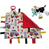 Lovey Baby Tag Minky Dot Blanket Bundle with Wubbanub Pacifier (Firetruck / Tic Tac Toby Dog)