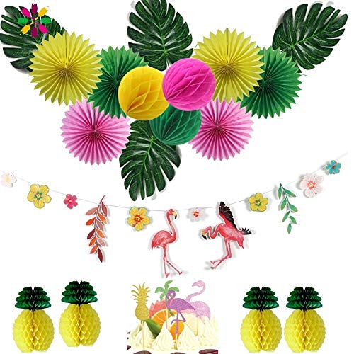 Beach Decorations For Party - Beach Theme Party Decorations - Hawaiian Party Decorations 15pcs/set With Flamingo Garlands Palm Leaves Cake Topper For Beach Summer Tropical Party Supplies.]()