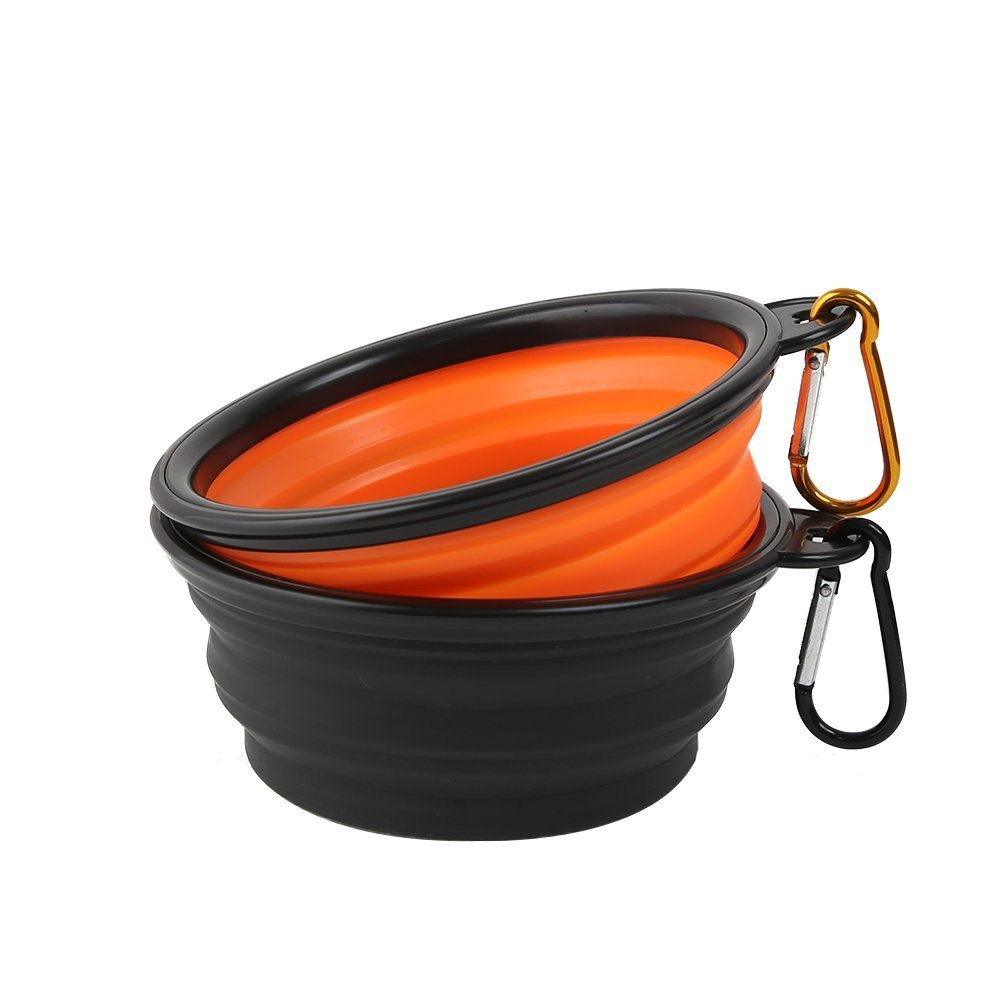 Recipiente de viaje plegable de silicona libre de BPA para alimentos y agua Negro + azul Vivifying plegable perro cuenco
