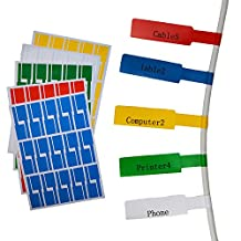 Onirii 10 SHEETS 270 LABELS 5 Assorted colors A4 Size Vinyl Waterproof Tear Resistant Durable Self-adhesive Cable Label cable markers cable tags Cable Classification