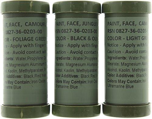 Army Universe Camo Face Paint, NATO Camouflage Military Makeup Paint Sticks (3 Sticks - 6 Colors)