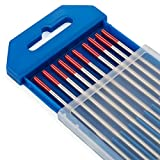 """TIG Welding Tungsten Electrodes 2% Thoriated 3/32"""" x 7"""" (Red, WT20) 10-Pack"""