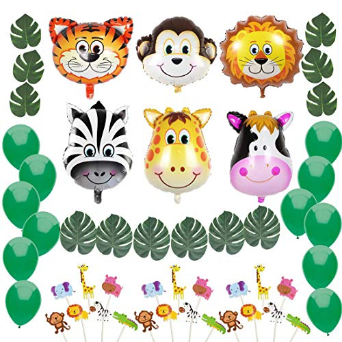 (Jungle Safari Theme Party Decorations:Animal Balloons(Zebra,Tiger,Lion,Monkey,Giraffe,Cow), Green Palm Leaves, Balloons, Cupcake Topper-Supplies and Favors for Kids Boys Birthday Baby Shower)