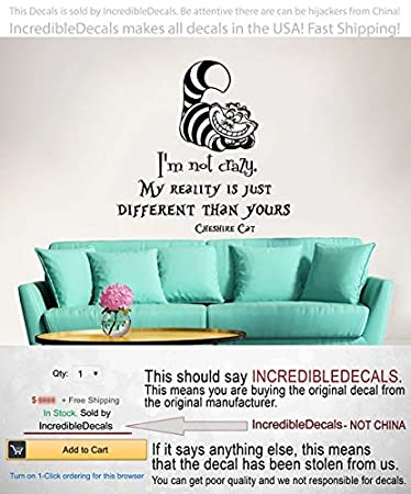 Alice In Wonderland Wall Decal Quote Vinyl Sticker Decals Quotes Iu0027m Not  Crazy Wall