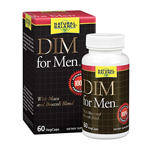 Natural Balance DIM for Men   Hormone Balance Supplement for Energy, Vitality & Mood Support   With Maca & Broccoli Extract   60 VegCaps, 60 Servings