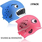 Children's Swimming Cap KEKU 2 Pack Shark and Small Fish Silicone Baby Swimming Cap are Suitable for Boys and Girls Ages 3 to 12.