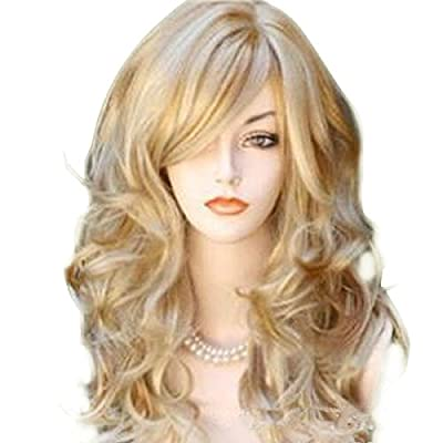 65cm Sexy Golden Blond Long Big Wave Mix Full Volume Curly Wavy Wig W/ Long Bang Women's Girl Hot Full Hair Wig s Cosplay Costume Party Anime Wigs 2015 Newest Style