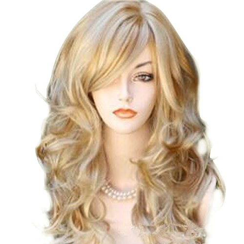 [SQdeal 65cm Sexy Golden Blond Long Big Wave Mix Full Volume Curly Wavy Wig W/ Long Bang Women's Girl Hot Full Hair Wig s Cosplay Costume Party Anime Wigs 2015 Newest] (Long Sexy Wigs)