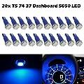Partsam T5 74 5050 1-SMD Dashboard Gauge Cluster LED Light Instrument Panel Indicator Lamp Bulbs, Blue, Pack of 20