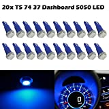 Partsam T5 74 5050 1-SMD Dashboard Gauge Cluster LED Light Instrument Panel Indicator Lamp Bulbs, Blue, Pack of 20