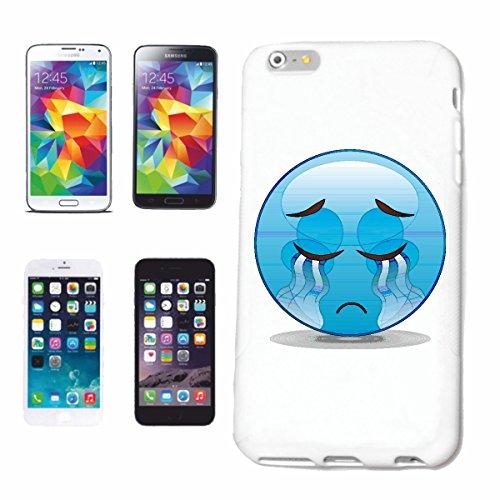"""cas de téléphone iPhone 5 / 5S """"SAD BLEU SMILEY AVEC TEARS """"smile EMOTICON APP de SMILEYS SMILIES ANDROID IPHONE EMOTICONS IOS"""" Hard Case Cover Téléphone Covers Smart Cover pour Apple iPhone en blanc"""