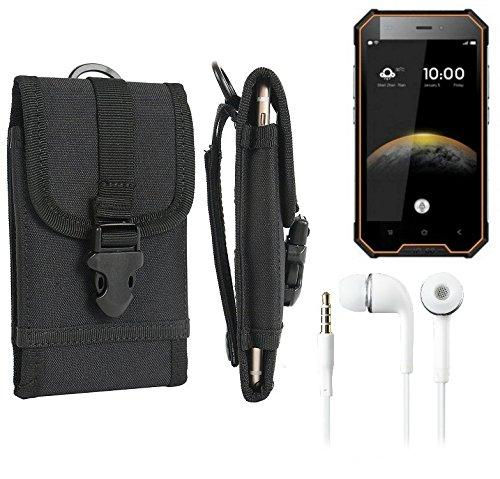 bolsa del cinturón / funda para Blackview BV4000 Pro, negro + Auriculares | caja del teléfono cubierta protectora bolso - K-S-Trade (TM)