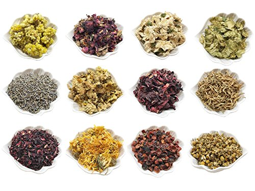 - PEPPERLONELY 12 Packs Organic Kosher Certified Botanical Dried Edible Flowers & Herbs Sampler Kit - Lavender, Rose Buds & Petals, Chamomile, Calendula, etc