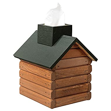 Wood Cabin Tissue Box Decoration - Green Roof