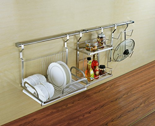 wall mount dish drying rack draining dish rack with drain board stainless steel geyueya home. Black Bedroom Furniture Sets. Home Design Ideas