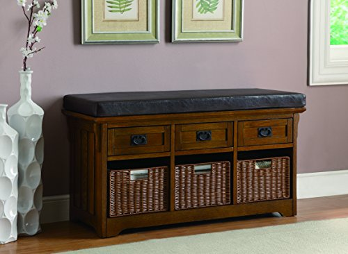 Coaster Storage Bench In Medium Brown Finish 501061