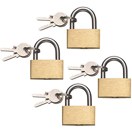 COM-FOUR® 4x Vorhängeschloss aus Messing, 30mm, mit 3 Schlüsseln