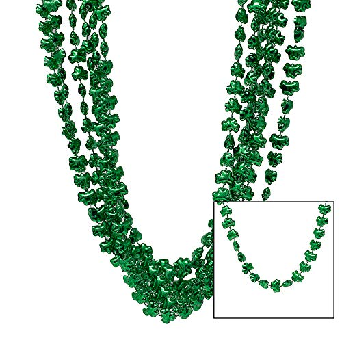24 St. Patrick's Day Shamrock Beads - Fun St Patty's Irish Themed Necklaces - Great For Adults & Kids - Perfect For Parties, Favors, Parades, Classrooms, and Pub Crawl Costumes ()