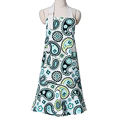 Blue Flower Pattern Women Chef Cooking Bib Kitchen Apron, with Pockets, 100% Cotton, Machine Washable