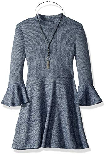 My Michelle Girls' Big Bell Sleeve Dress, Navy, 10 (Michelle Clothes My)
