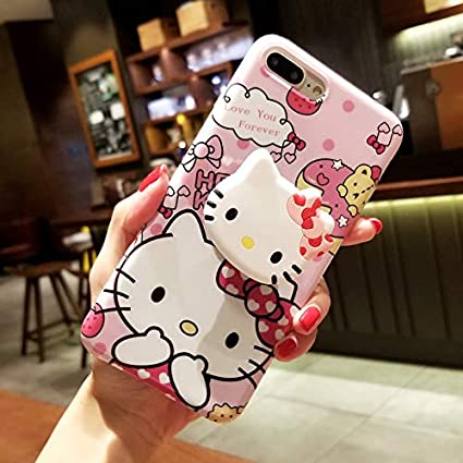 iPhone 8 Plus/7 Plus Hello Kitty Case, Cute Cartoon Case, Air Bracket Kickstand Soft Protective Shockproof Stand Holder Case Cover Skin for Apple ...
