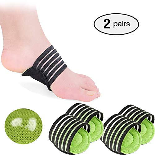 2 Pairs Extra Thick Cushioned Compression Arch Support with More Padded Comfort for Plantar Fasciitis, Fallen Arches, Heel Spurs, Flat and Achy Feet Problems (for Men and Women) (Green)