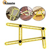Amenitee Universal Angularizer Ruler - Easy Angle Ruler-Multi Angle Measuring Tool-With Unique Line Level-Embedded ABS Bolts and Nuts-Angleizer Template Tool-Perfect Gifts(Yellow)