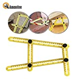 Amenitee Universal Angularizer Ruler-Easy Angle Ruler-Multi Angle Measuring Tool-With Unique Line Level-Embedded ABS Bolts and Nuts-Angleizer Template Tool(Yellow)