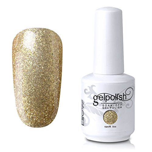 Elite99 Soak Off UV LED Gel Polish Nail Art Manicure Lacquer 618 Glitter Gold 15ml