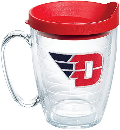 Tervis 1173361 Dayton Flyers Logo Tumbler with Emblem and Red Lid 16oz Mug, Clear