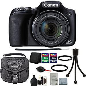Canon PowerShot SX530 HS 16MP WiFi Digital Camera Black with 24GB Accessory Kit Black