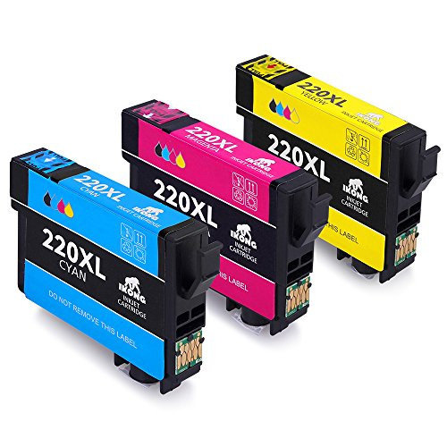 IKONG 3-Pack High Capacity Replacement For Epson 220 Ink Cartridge(1 Cyan, 1 Magenta, 1 Yellow) Workes with Epson XP-320 XP-420 XP-424 Epson WorkForce WF-2650 WF-2630 WF-2660 WF-2750 WF-2760 Printers