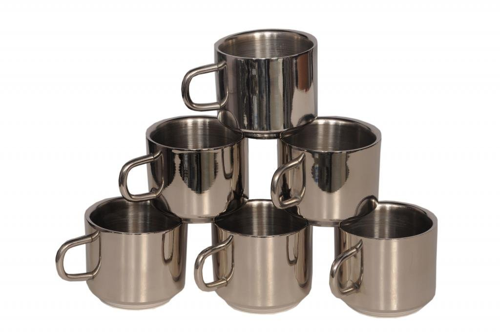 Aagam Double Walled Stainless steel coffee & tea mugs - Set of 6