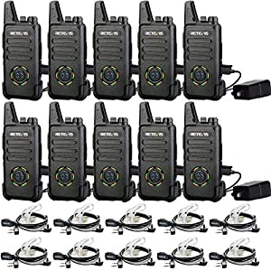 Case of 10,Retevis RT22S Two Way Radio 22 Channel Lock Rechargeable Walkie Talkies Long Range for Adults VOX Emergency Alarm 2 Way Radios