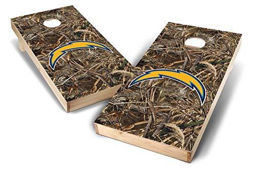 (PROLINE NFL 2'x4' Los Angeles Chargers Cornhole Set - Realtree Max-5 Camo Design)