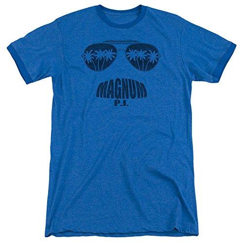 Magnum Pi Face It Mens Adult Heather Ringer Shirt Royal - Pi Ringer