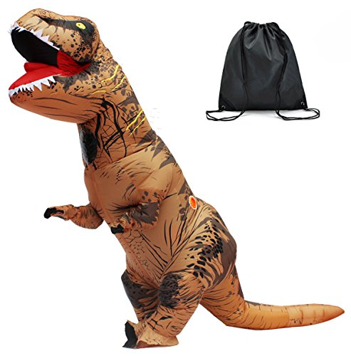 Halloween Adult Inflatable T Rex Dinosaur Party Costume Funny Dress Brown With Backpack and USB (Dinosaur Costumes Women)