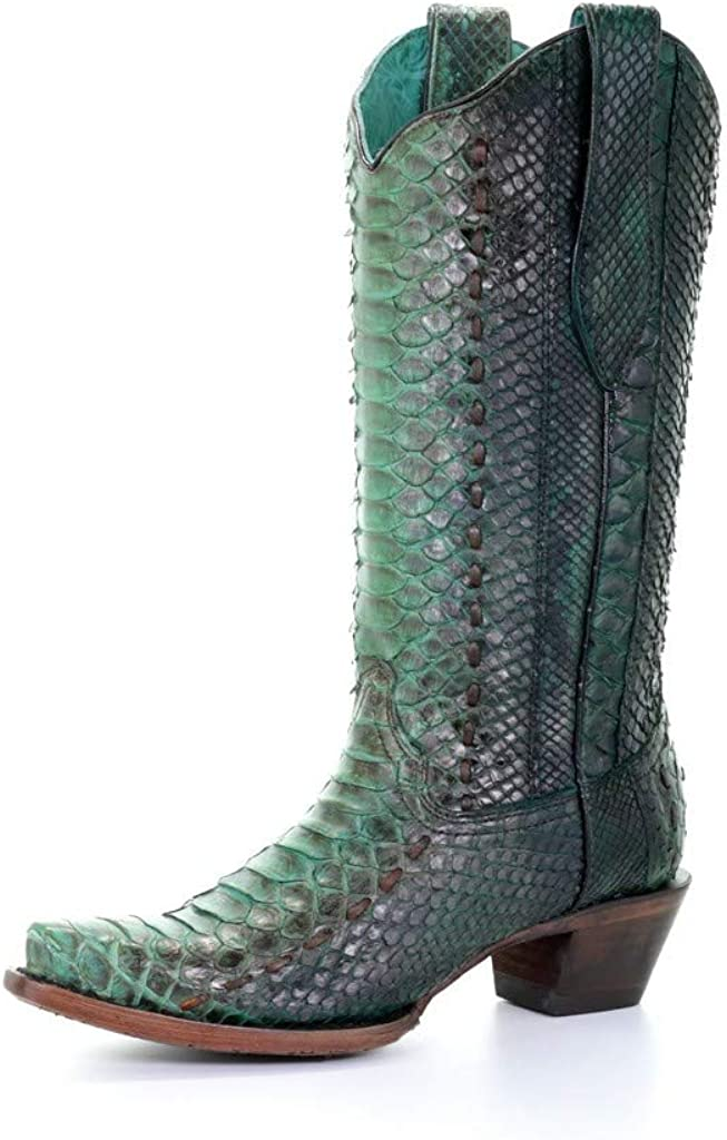 CORRAL Women's Turquoise Full Python Woven Cowgirl Boot Snip Toe