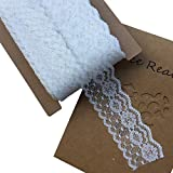Lace Realm 1.6 inches Wide White Lace Trim Ribbon