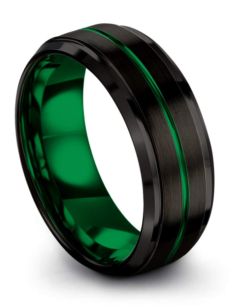 Chroma Color Collection Tungsten Wedding Band Ring 8mm for Men Women Green Interior Green Center Line Step Bevel Edge Brushed Polished Size 9