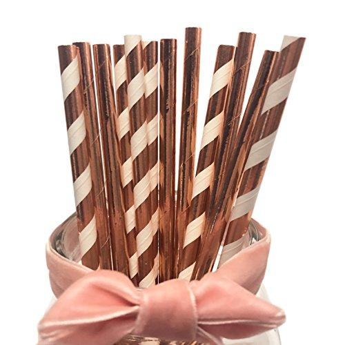 Rose Gold Paper Straws, Darinking Straws Metallic Foil Shining Rose Golden Paper Straws for Weddings and Birthdays Parties(Rose Gold Stripes & Plain Rose Gold Straws) - Birthday Stripes